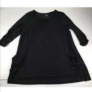 Logo Lori Goldstein 1X Black 3/4 Sleeve Knit Top